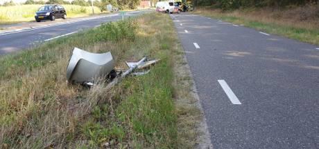 Automobilist rijdt verkeersbord en lantaarnpaal omver in Zenderen