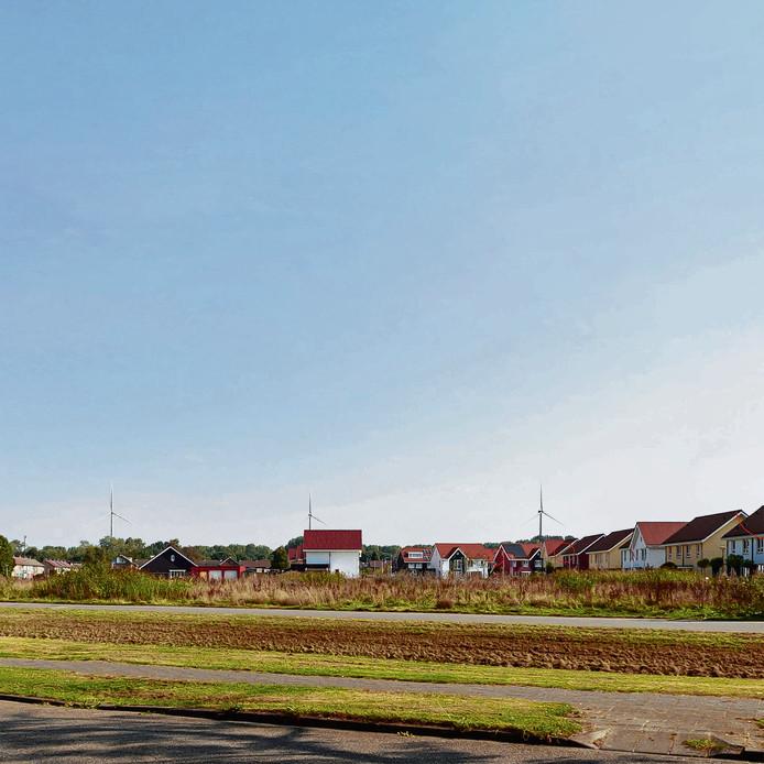 Dit wordt het beeld van het windpark op industrieterrein Moerdijk vanaf de Beatrijsweg in Klundert. Op acht plaatsen in Klundert en Noordschans zijn de windmolens op deze manier door Pondora Consult gevisualiseerd.