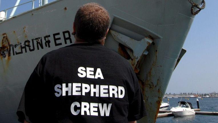 Een lid van de Sea Sheperd-crew Beeld ANP