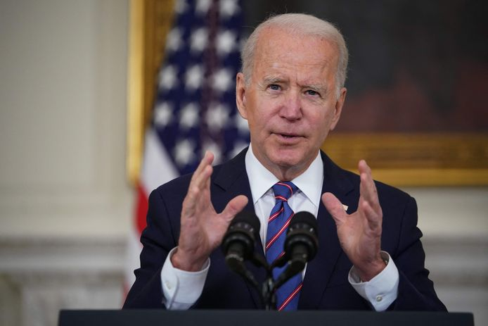 President Joe Biden organiseert een digitale klimaattop. (Photo by MANDEL NGAN / AFP)