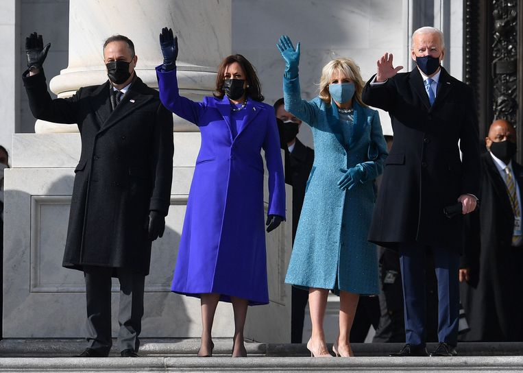 Doug Emhoff, Kamala Harris, Jill Biden en Joe Biden. Beeld AFP