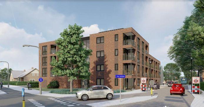 Het aangezicht van het nieuw appartementencomplex in Nieuwleusen. Vroeger stond op dezelfde plek een Chinees restaurant.