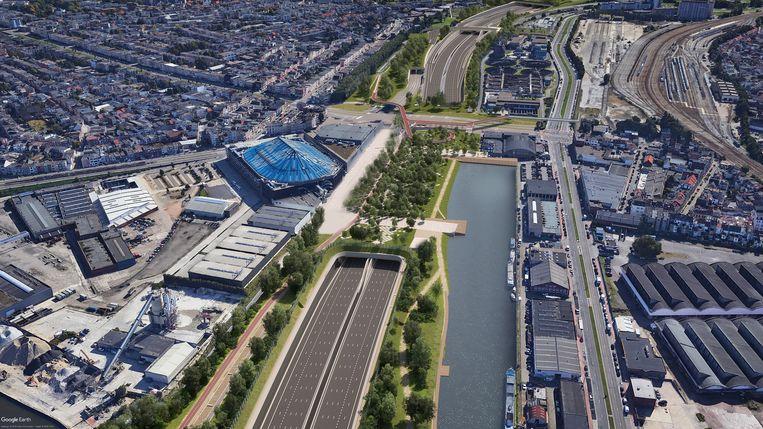 Een toekomstbeeld aan het Sportpaleis met een park op de overkapping.
