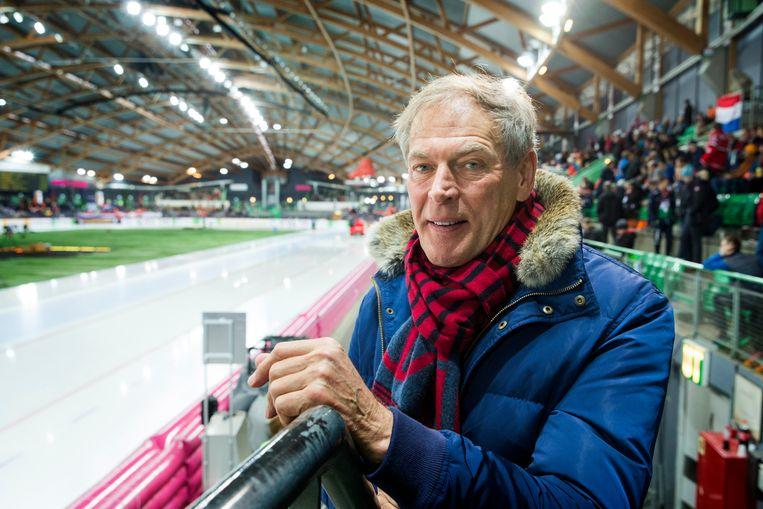 Ard Schenk tijdens het WK allround in Hamar. 'De ISU waant zich machtig, maar het kan niet anders dan dat er zweet in de stoel zit.' Beeld ANP