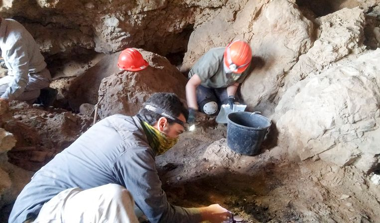 Een archiefbeeld van opgravingen van Dode Zee-rollen. Beeld EPA