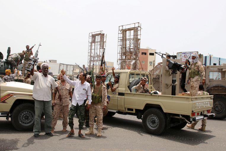 Separatisten in de havenstad Aden, Jemen. Beeld Reuters
