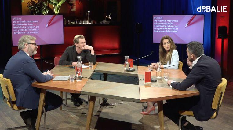 Het debat in De Balie. Vlnr: Sidney Smeets, presentator Tim Wagemakers, Dilan Yesilgöz en Sofyan Mbarki.  Beeld Screenshot
