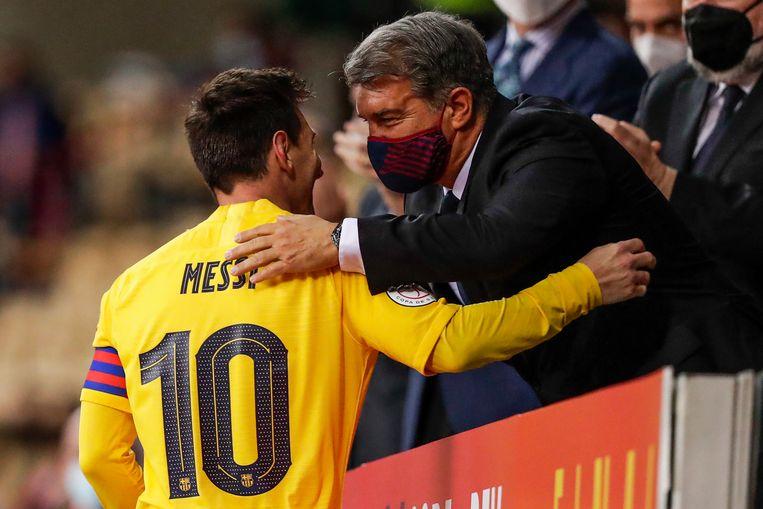 Bij de wedstrijd tegen Bilbao hoopten Messi en Laporte nog jaren samen te werken bij FC Barcelona. Beeld Getty Images