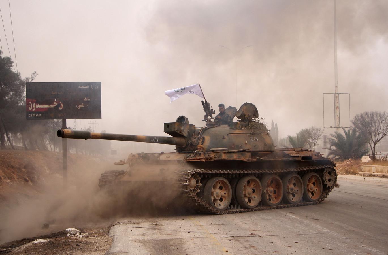 Jaish al-Fatah-rebellen in een aanval tegen het leger van Assad in West-Aleppo, oktober 2016.