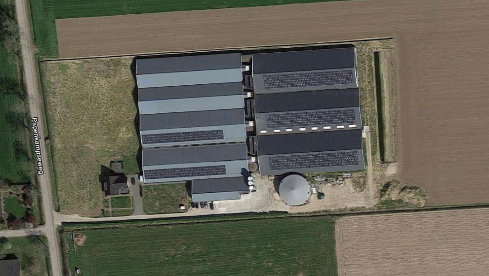 De varkensstallen aan de Papenkampseweg in Netterden vanuit de lucht gezien.