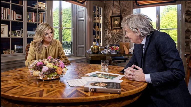 Matthijs Van Nieuwkerk sprak met koningin Máxima. Beeld ANP