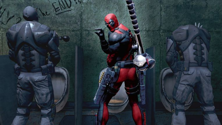 Deadpool neemt de vijand de maat (en op de hak). Beeld null