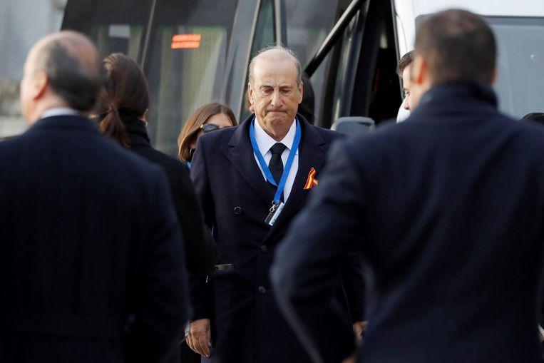 Francis Franco, de kleinzoon van dictator Francisco Franco, arriveert bij de Vallei der Gevallenen.  Beeld Getty Images