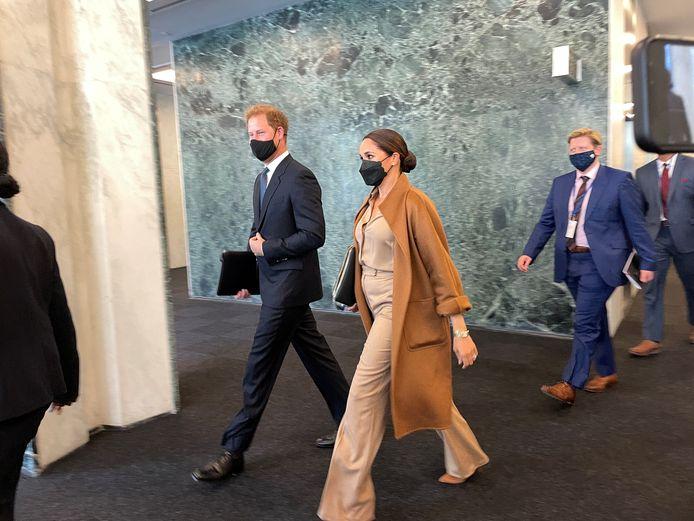 Prins Harry en Meghan Markle verlaten het hoofdkwartier van de Verenigde Naties