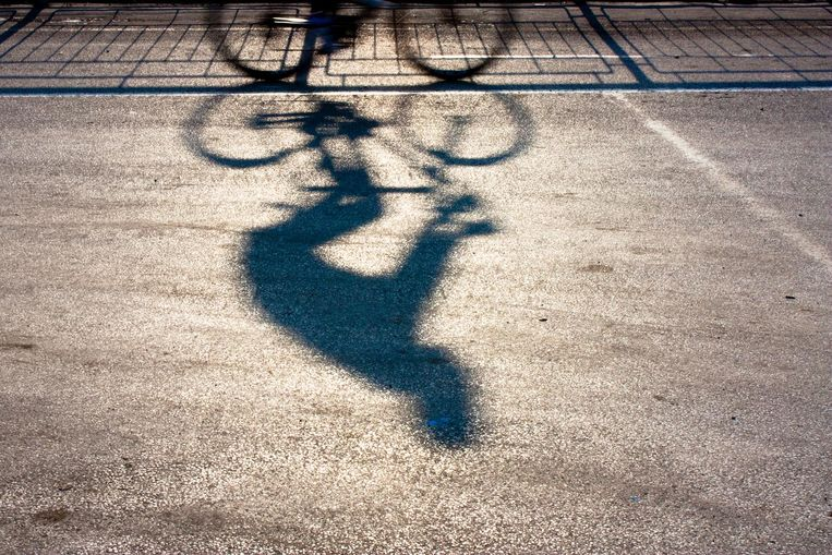 Blurry cyclist silhouette and shadow on a proteted bike path in sunset