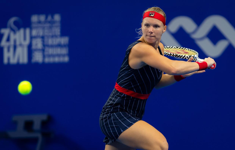 Kiki Bertens in actie tijdens haar gewonnen wedstrijd tegen Donna Vekic in Zhuhai.  Beeld ZUMAPress/Hollandse Hoogte