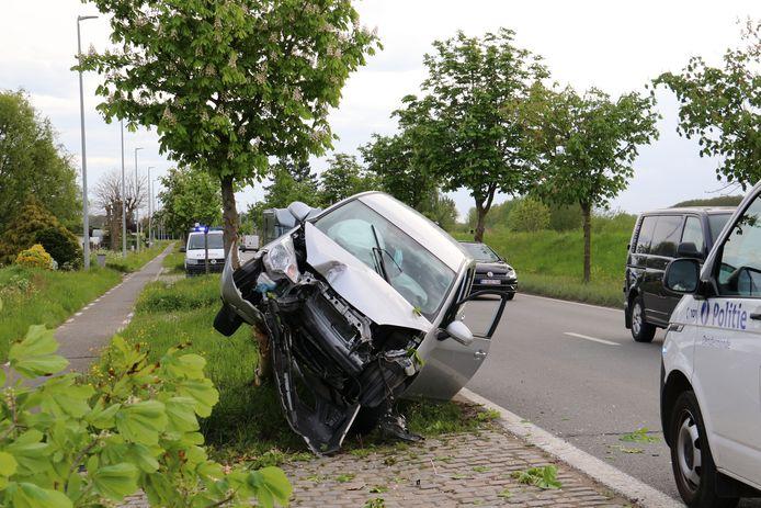 Het voertuig knalde frontaal tegen een boom.