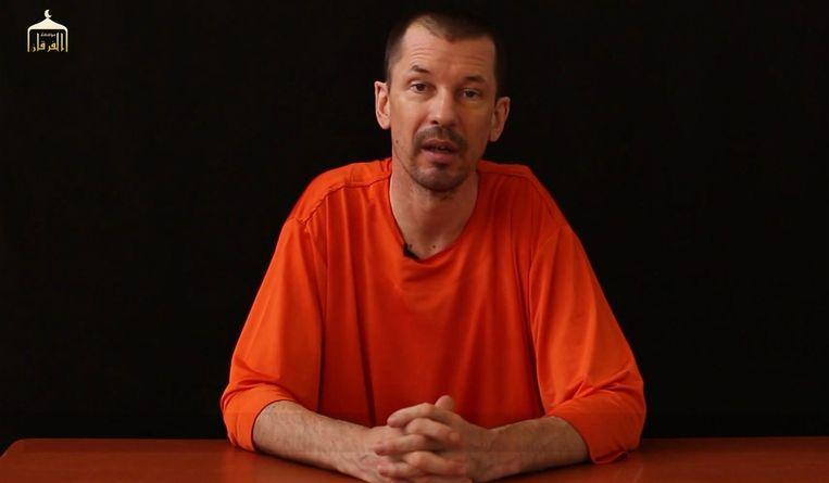John Cantlie in een filmpje dat IS in september vrijgaf. Beeld afp