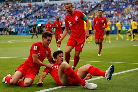 Feest bij Engeland na een treffer tegen Zweden.