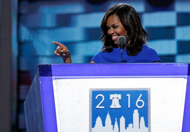 Michelle Obama ging onder andere in op de opvoeding van haar kinderen. Beeld REUTERS