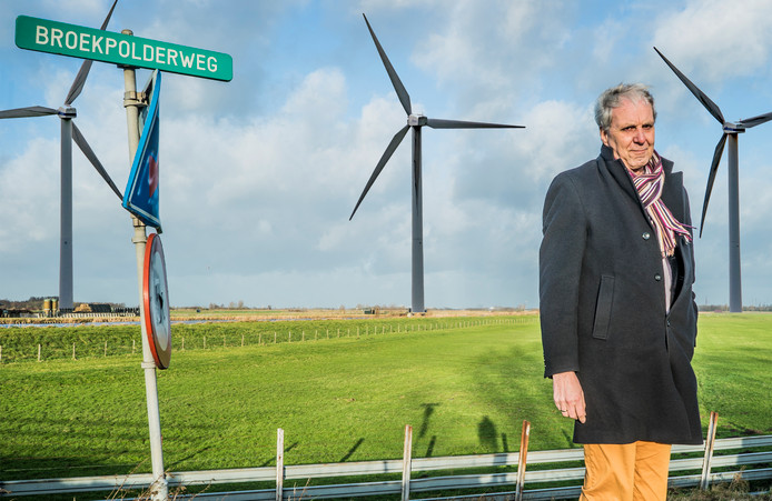 Het schrikbeeld van Peter Bouwman: windmolens in de polder langs de Broekpolderweg.