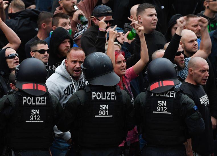 Radicaal-rechts demonstreert in Chemnitz, Duitsland. Beeld EPA