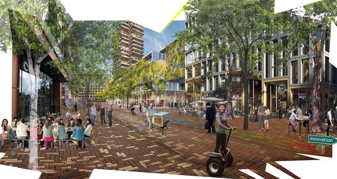 Impressie van gebied station Den Haag Laan van NOI, zijde Bezuidenhout.