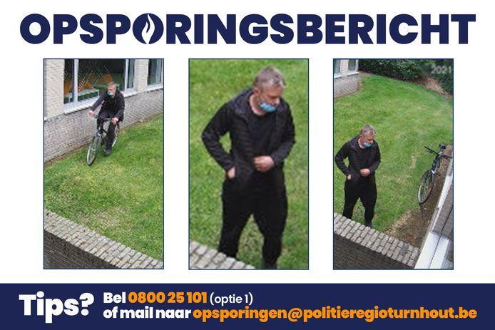 Politie Regio Turnhout deelde een opsporingsbericht waarop de man duidelijk herkenbaar is.