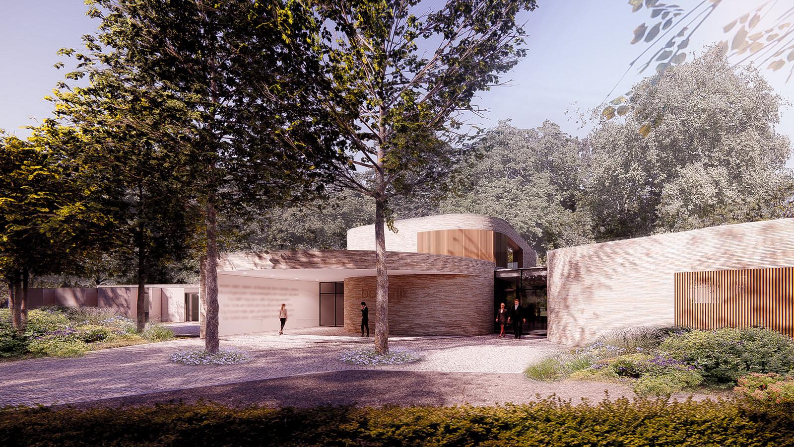 Een getekende impressie van het toekomstige crematorium aan de Docfalaan in Oss.