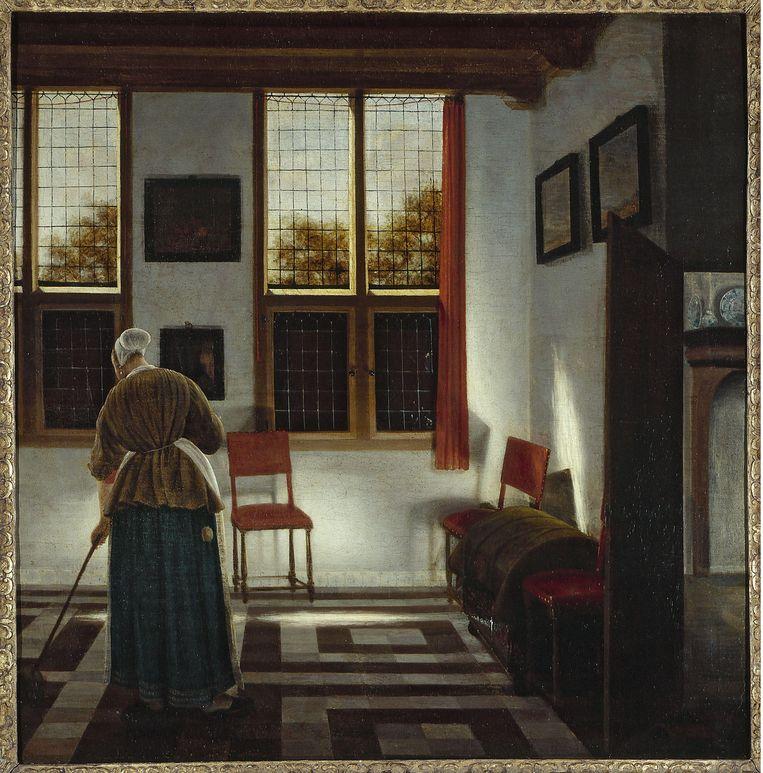 Pieter Janssens Elinga: La balayeuse (17de eeuw). Musée des Beaux-Arts de la Ville de Paris, Petit Palais. Beeld Alamy Stock Photo