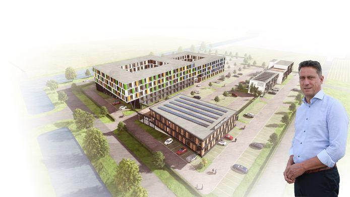 Een visualisatie van het migrantenhotel op bedrijventerrein Kickersbloem 3 met wethouder Aart-Jan Spoon.