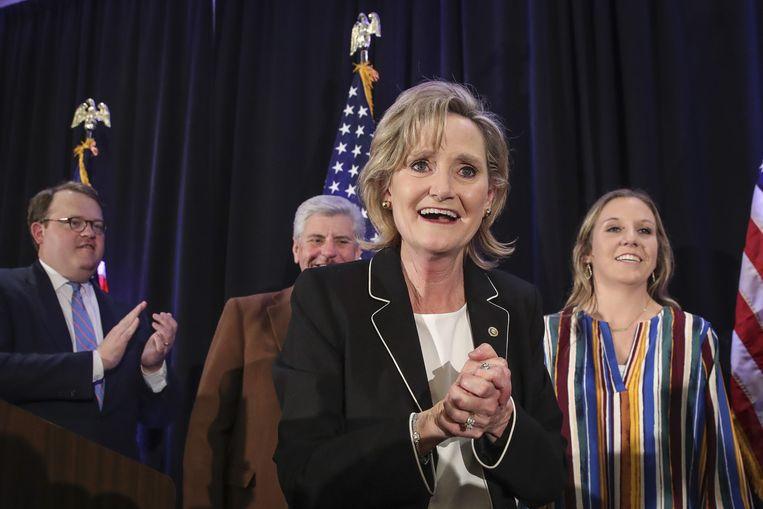 Cindy Hyde-Smith viert haar overwinning. Beeld AFP
