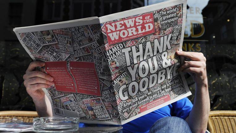 Het laatste nummer van de tabloid News of the World.; Beeld epa