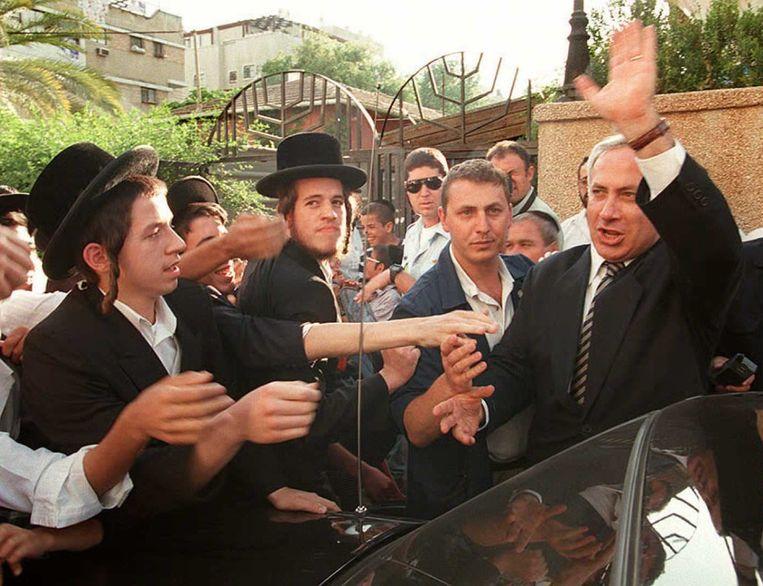 Met ultra-orthodoxe studenten, 1996.  Beeld Hollandse Hoogte / AFP