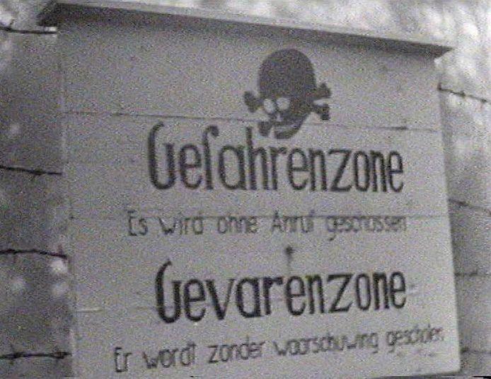 Waarschuwingsbord nabij Oxerhof in de laatste oorlogsjaren.