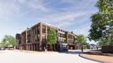 Impressie van het bouwplan voor een gezondheidscentrum en appartementen op de hoek Dorpsstraat-Kloosterstraat in Stiphout (Helmond). Te zien: hoek Dorpsstraat (links) - Kloosterstraat (rechts)