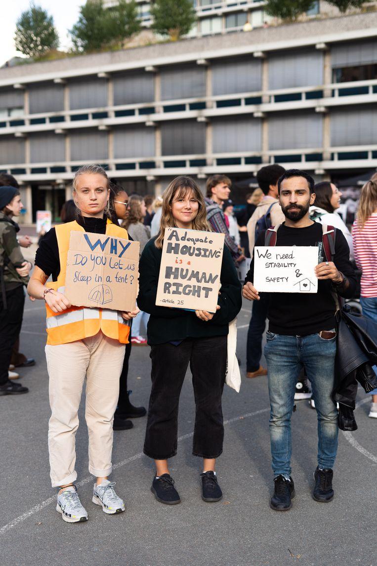 Internationale studenten protesteren onder de naam #noroomforus tegen het woonprobleem Beeld Birgit Bijl