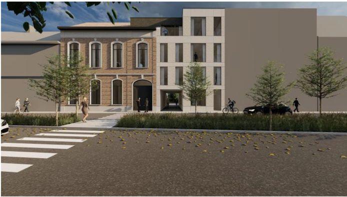 Een simulatie van de nieuwbouw en het gerenoveerde herenhuis.