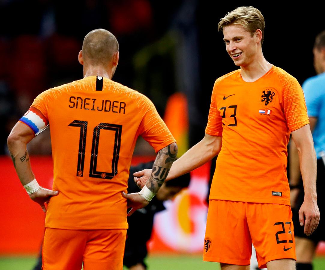 Nederland-Peru Afscheidswedstrijd Wesley Sneijder Wesley Sneijder en Frenkie de Jong Foto ; Pim Ras