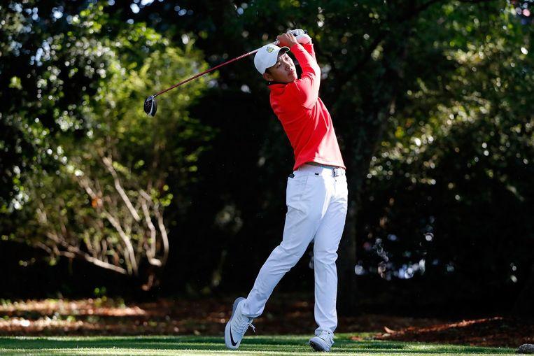 De Chinese amateurgolfer Cheng Jin tijdens het Masters Tournament in Augusta, Georgia. Beeld AFP