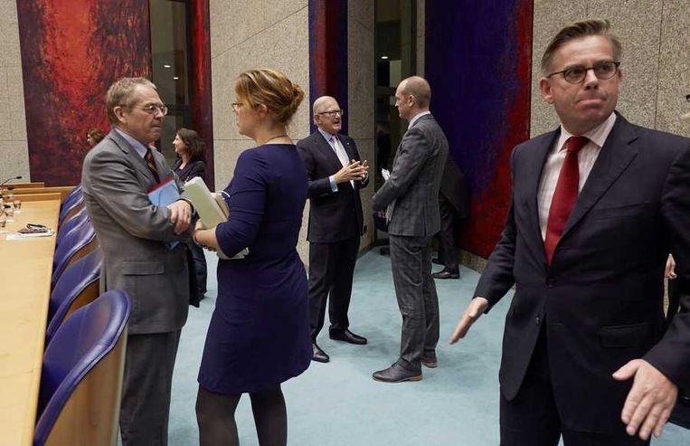 D66-Kamerlid Schouw (rechts) in de Tweede Kamer. Beeld anp