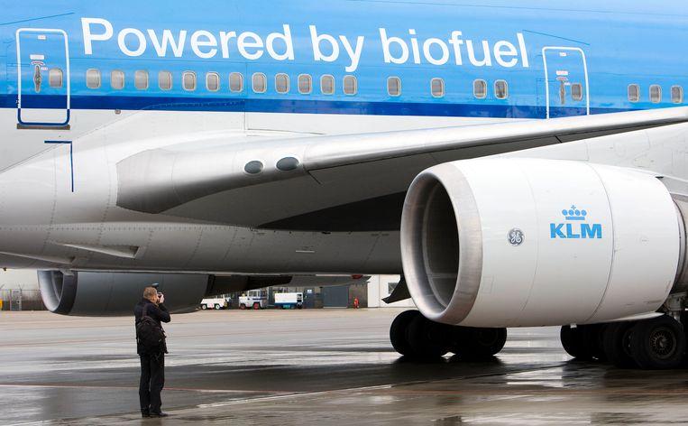 KLM maakte al eens vluchten met een paar procent biokerosine als brandstof. Pure marketing, zeggen critici.  Beeld ANP