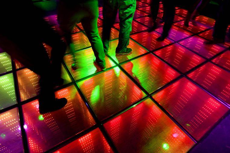 De vloer in ondertussen weer verdwenen nachtclub WATT op de West-Kruiskade in Rotterdam. Beeld anp