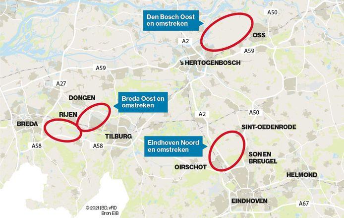 Extra woningbouwlocaties in Brabant, met de polder tussen Den Bosch en Oss.