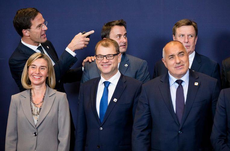 Premier Mark Rutte en Federica Mogherini, EU-buitenland coordinator, de Finse premier Juha Sipila, de Luxemburgse premier Xavier Bettel, de Bulgaarse premier Boyko Borissov en de Litouwse premier Algirdas Butkevicius, tijdens een bijeenkomst van de Europese raad. Beeld anp