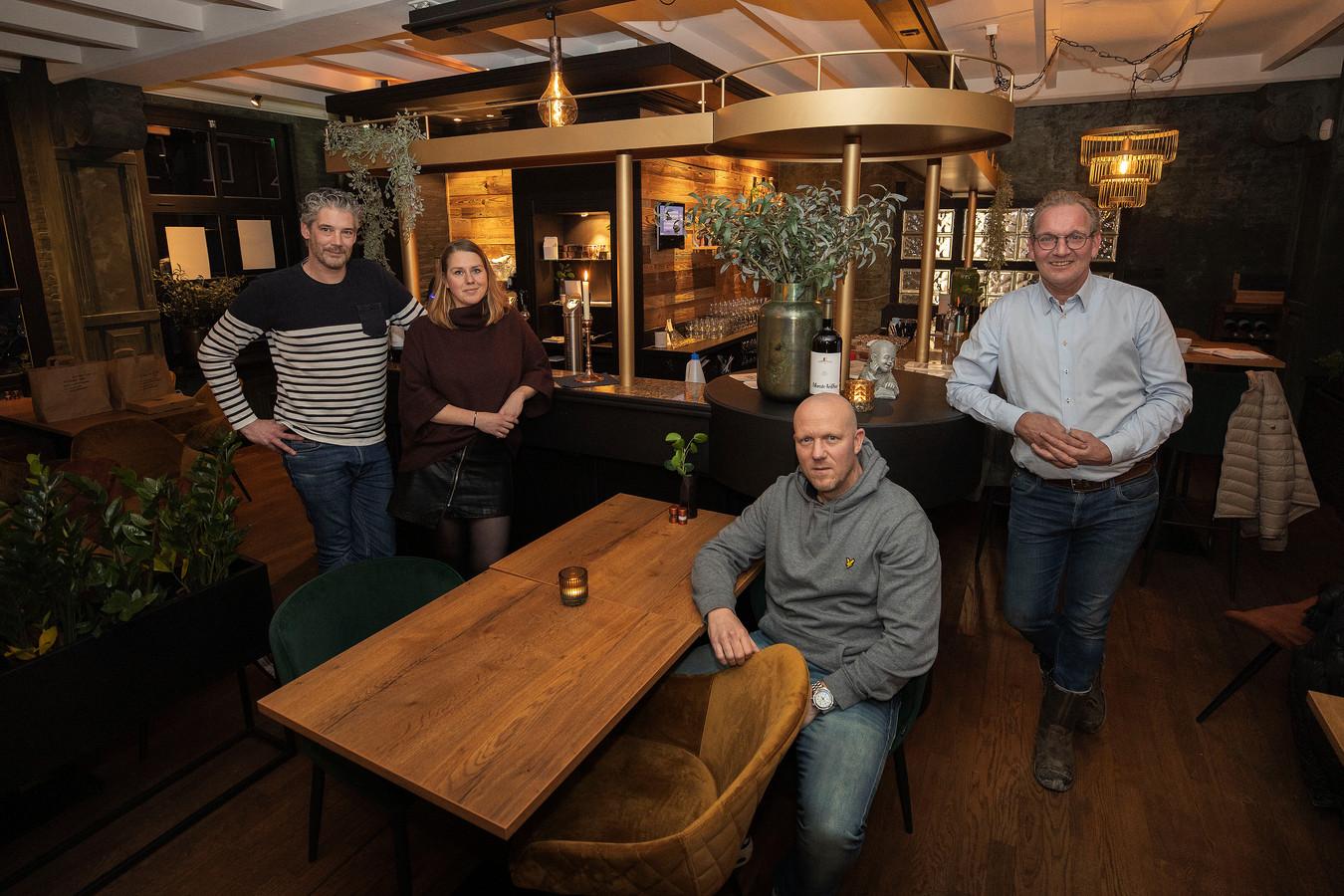 Restaurants Bravoy en Goesting zoeken steun via crowdfunding . V.l.n.r. Ralf Evers, Yvette van der Zanden, Tom Smids, Bart van de Ven.