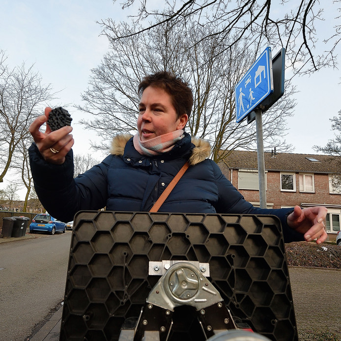 Wethouder Inge Raaijmakers introduceert het eerste biobased verkeersbord met de mogelijkheid voor een insectenhotel.