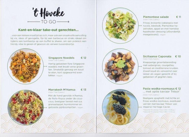 De menukaart van 't Hoveke To Go.