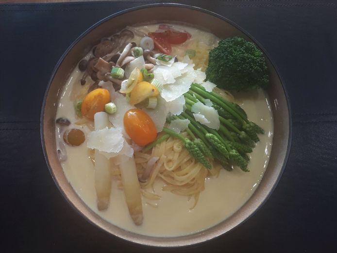 Een van de ingrediënten van de vegetarische pasta waren korenaar-asperges, een heerlijke, maar vrijwel onbekende en exclusieve groentesoort.