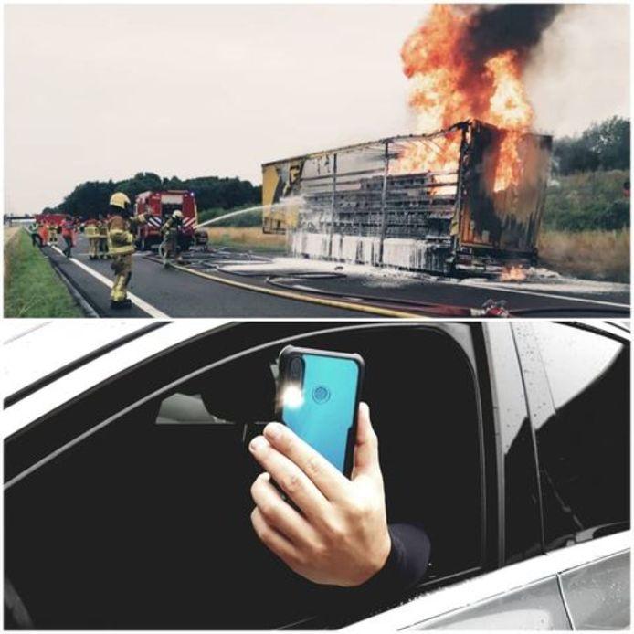 De brandende truck in Apeldoorn leverde een stortvloed aan verkeersboetes op: 152 automobilisten zijn op de bon gegaan omdat zij de brand filmden in plaats van hun aandacht op de weg hielden.